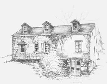 Pen and ink sketch by Pat Drybred.  First published on the cover of Pennsylvania Mennonite Heritage, vol. XVI, Number 3, July 1993.